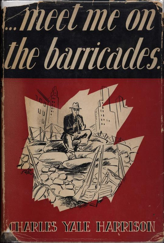 Cover of Meet me on the Barricades: The title against black background, and an image of a man playing the clarinet on a pile of rubble against a red background