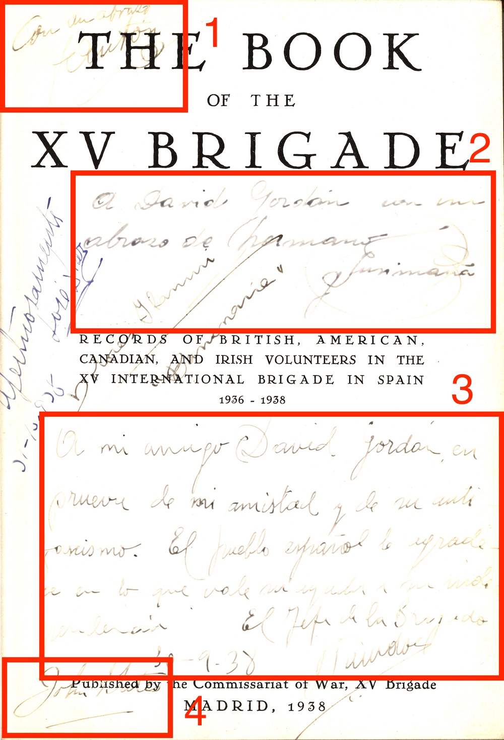 Title page of The Book of the XV Brigade, with signatures circle and numbered in red.
