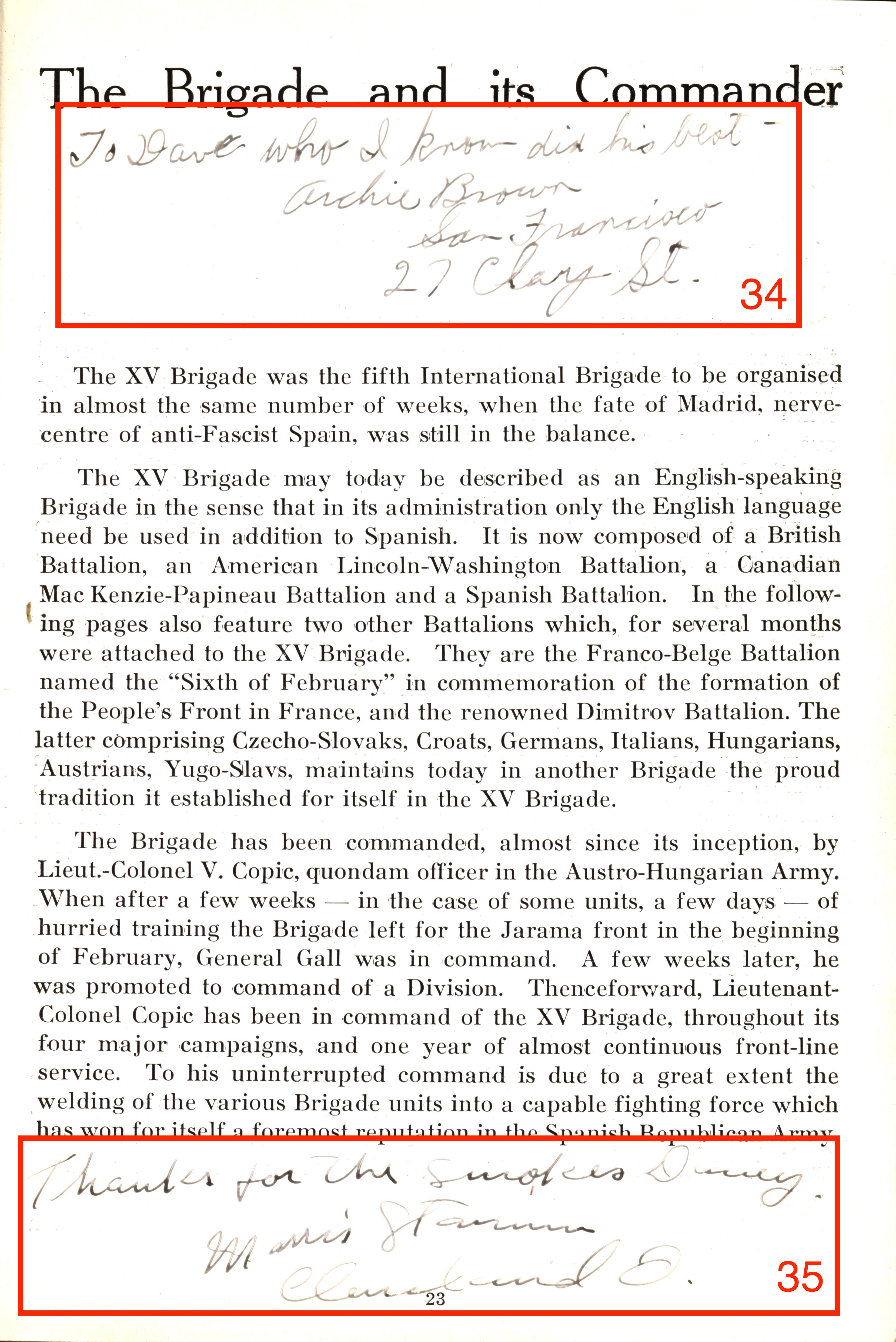 "Page 23, titled ""The Brigade and its Commander,"" with signatures circled"