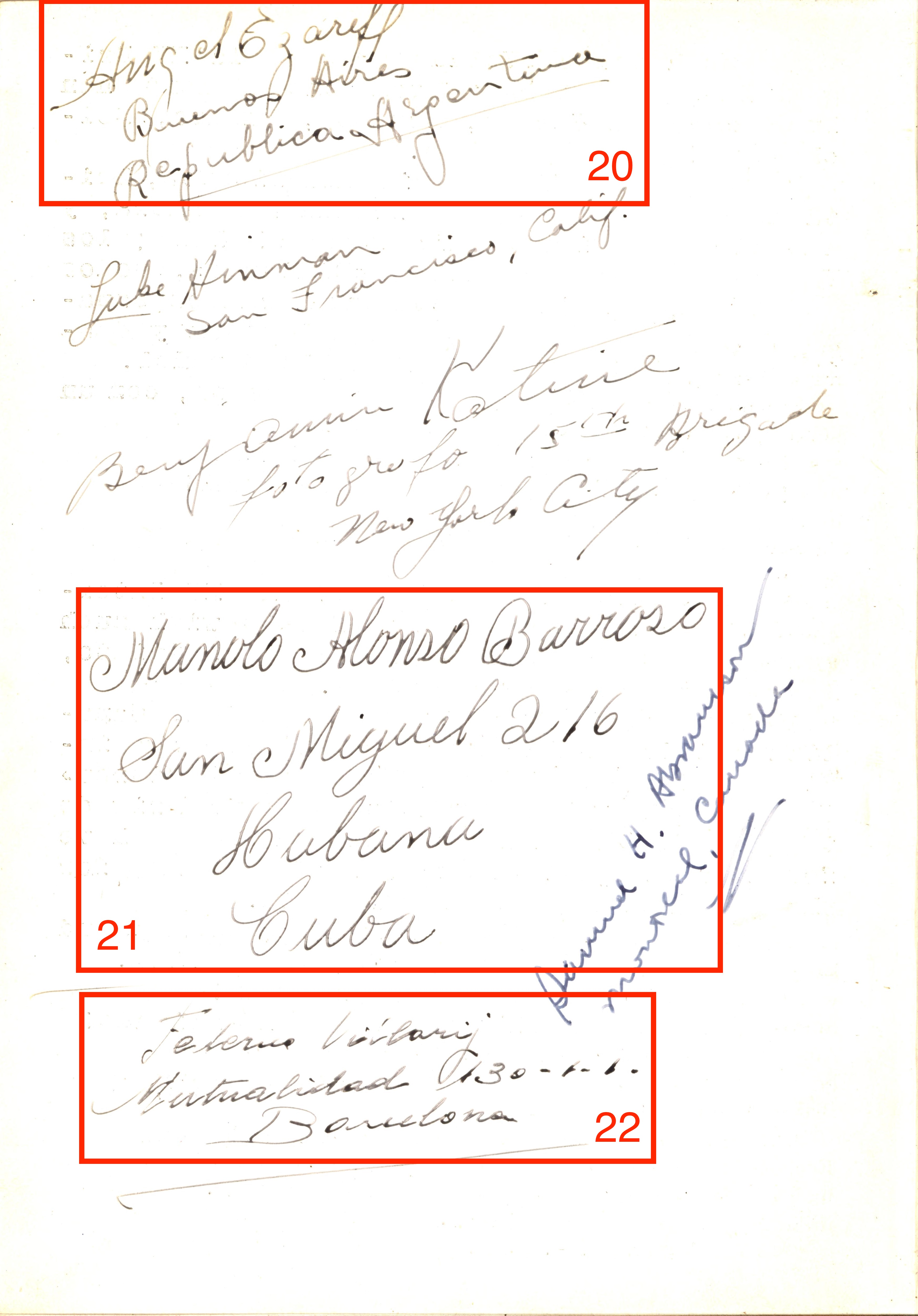 Page 8 of the Book of the XV Brigade, with signatures circled.