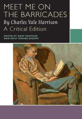 Cover of Meet Me on the Barricades by Charles Yale Harrison. The cover is red and black, and shows a man playing an oboe while he sits on top of a pile of rubble in a city.